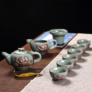 产地直供 功夫茶具 哥窑茶具特价套装 可开片瓷器 带礼盒