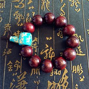 茶七网小叶紫檀搭配顶级帝皇石20mm颗老料高密度男款手串