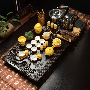 实木茶盘电磁炉四合一全套茶具套装大龙钻石-黄金龙