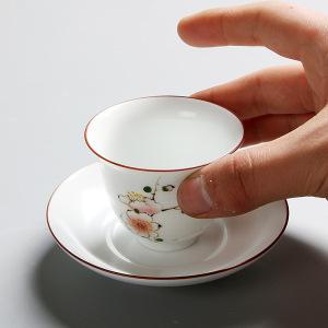 品茗杯白瓷手绘花神杯  单个价