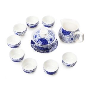 功夫茶具 陶瓷南金茶具10件套礼盒装