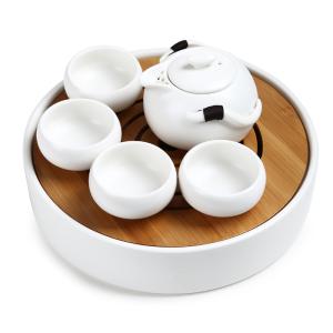 功夫茶具  定窑企鹅壶+年轮干泡盘白色六件套