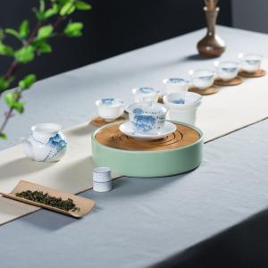 陶瓷-立体青花牡丹盖碗茶盘套组