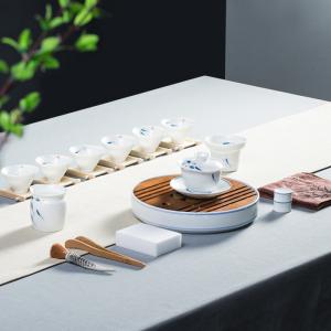 功夫茶具  三鱼图盖碗-茶盘套组