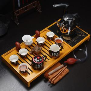 高档实木茶盘三合一   手写唐诗+高效电热炉