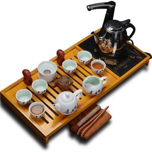 高档实木茶盘三合一 有字雪花+高效电热炉