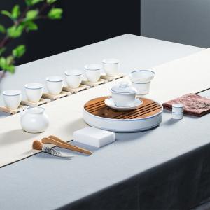 功夫茶具  陶瓷-马蹄莲子母线盖碗茶盘套组