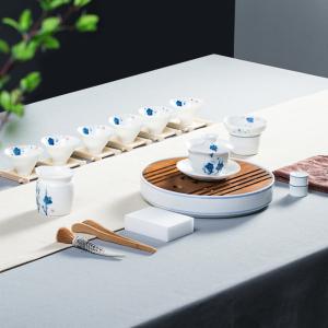 功夫茶具 陶瓷-马蹄莲名花盖碗-茶盘套组