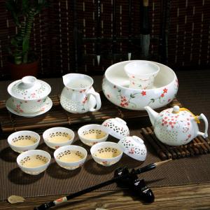 套组-陶瓷-青花镂空小红花  玲珑茶具