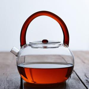 新上市 提梁玻璃茶壶850ml(褐色手把)