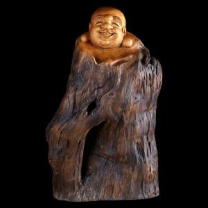 根雕摆件-香樟-笑口常开-弥勒佛