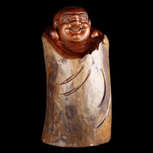 根雕摆件-香樟木-笑口常开弥勒佛-风水好物