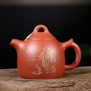 紫砂壶-朱泥-描金秦权壶3号 230cc