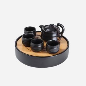 功夫茶具 定窑3号壶+年轮干泡盘黑色六件套