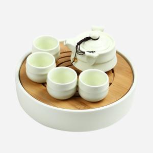 功夫茶具  定窑2号壶+年轮干泡盘黄色六件套