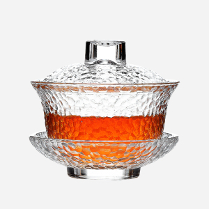 玻璃茶具-盖碗-锤目纹三才碗