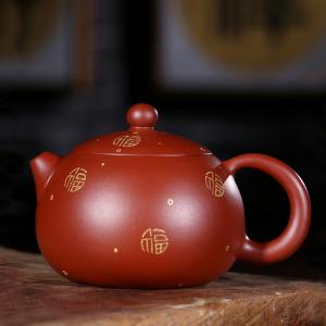 紫砂壶-朱泥大红袍-福如山岳西施壶200cc
