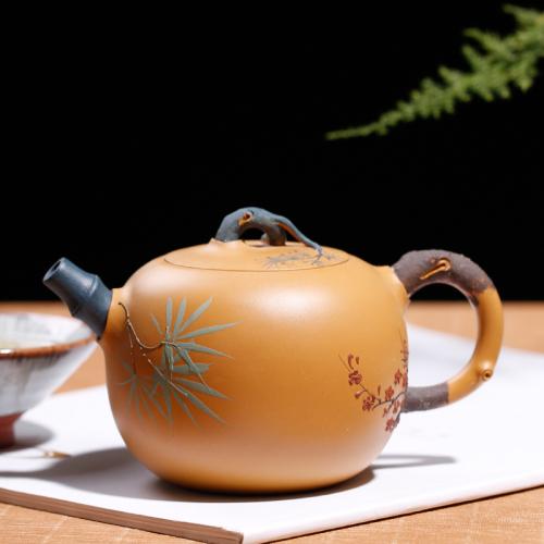 【朱鸿钧】大师壶茶壶-紫砂壶-松竹梅壶280cc
