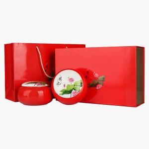 礼盒装-滇红-红色荷风金螺双瓷罐300g