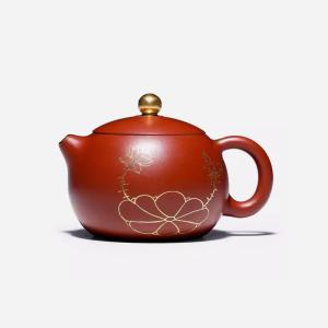 茶壶-紫砂壶-描金西施壶240cc