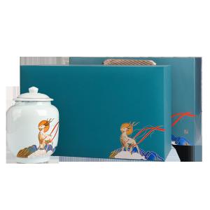 礼盒装-茉莉花茶-蓝色一鹿香伴双瓷罐200g(含提袋)